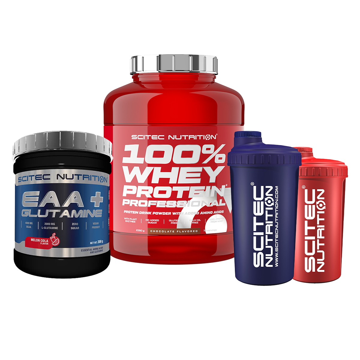 Scitec Nutrition 100% Whey Protein Professional + EAA + Glutamine + Shaker Set